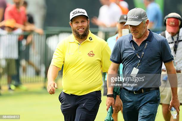 Andrew Johnston of England smiles on the practice ground during the third round of the 2016 PGA Championship at Baltusrol Golf Club on July 30 2016...