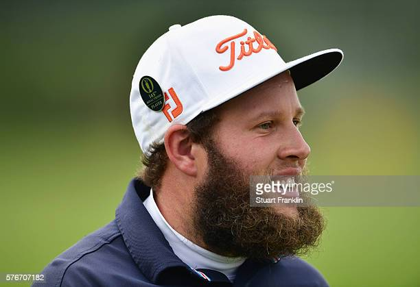 Andrew Johnston of England smiles on the range during the final round on day four of the 145th Open Championship at Royal Troon on July 17 2016 in...
