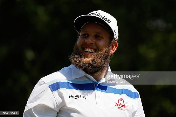 Andrew Johnston of England smiles on the sixth tee during the first round of the 2016 PGA Championship at Baltusrol Golf Club on July 28 2016 in...