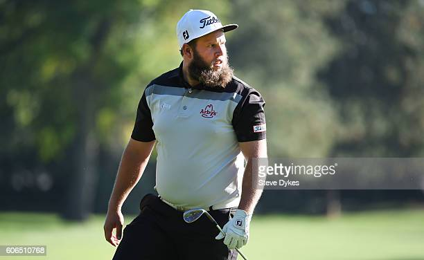 Andrew Johnston of England takes a look at the green on the 15th hole during the second round of the Albertsons Boise Open on September 16 2016 in...
