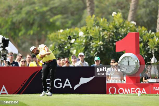 Andrew Johnston of England takes his tee shot on hole one during Day Four of the Omega Dubai Desert Classic at Emirates Golf Club on January 27 2019...