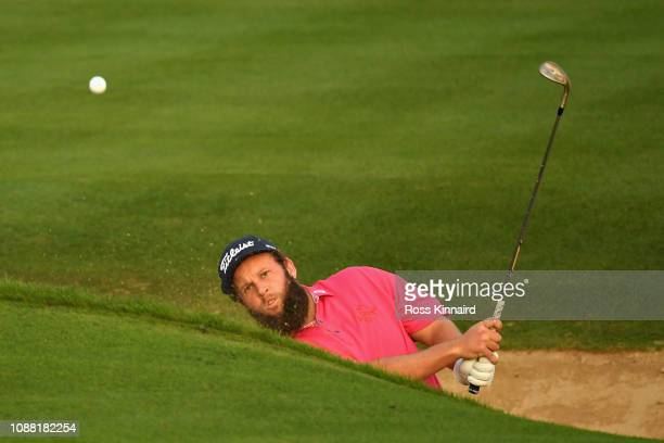 Andrew Johnston of England takes his third shot on hole ten during Day Two of the Omega Dubai Desert Classic at Emirates Golf Club on January 25 2019...