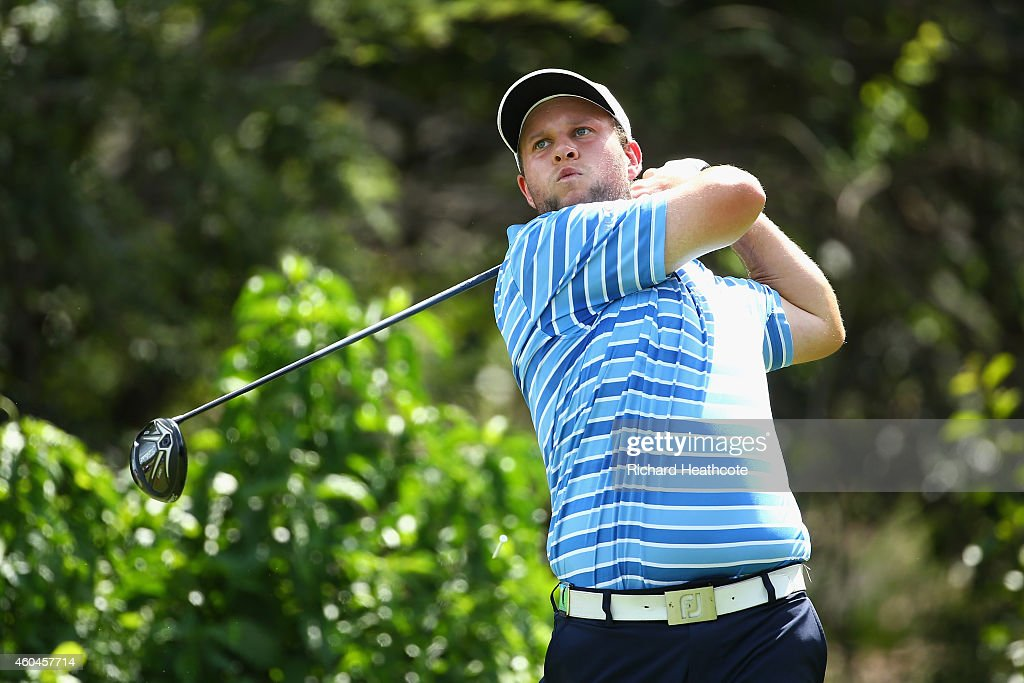 Andrew Johnston of England tee's off at the 10th during the final round of the Alfred Dunhill Championship at Leopard Creek Country Golf Club on December 14, 2014 in Malelane, South Africa.