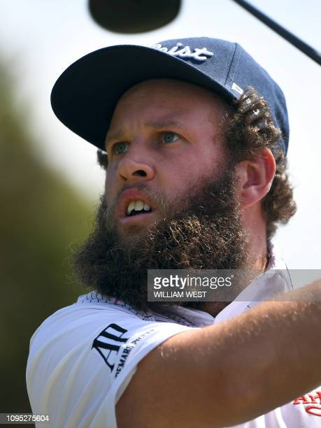 Andrew Johnston of England tees off during the second round of the Vic Open golf tournament at the 13th Beach Golf Links at Barwon Heads near...