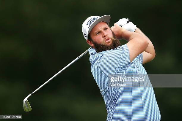 Andrew Johnston of England tees off on the 10th hole during day two of the KLM Open at The Dutch on September 14 2018 in Spijk Netherlands