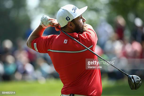 Andrew Johnston of England tees off on the 3rd hole during day two of the BMW PGA Championship at Wentworth on May 27 2016 in Virginia Water England
