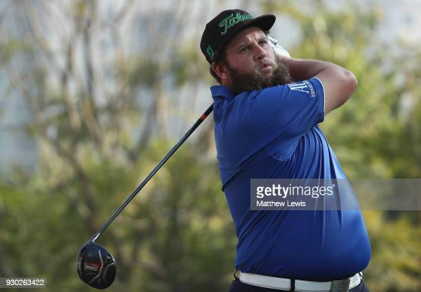 Andrew Johnston of England tees offon the 2nd hole during day four of the Hero Indian Open at Dlf Golf and Country Club on March 11 2018 in New Delhi...