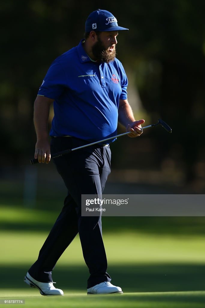 Andrew Johnston of England walks from the 13th green during day one of the World Super 6 at Lake Karrinyup Country Club on February 8, 2018 in Perth, Australia.