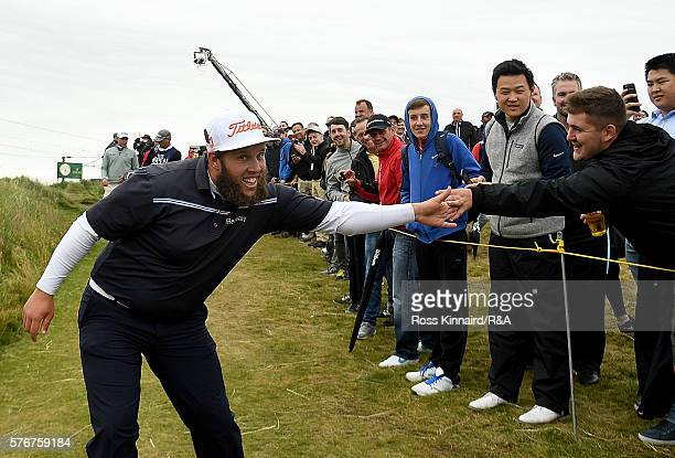 Andrew Johnston of England walks off the 11th tee during the final round on day four of the 145th Open Championship at Royal Troon on July 17 2016 in...