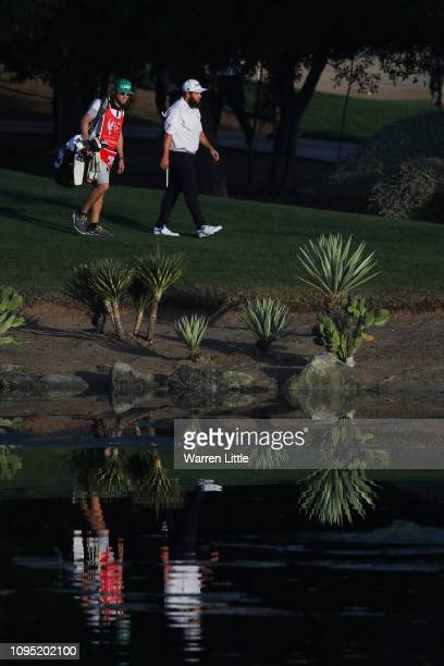 Andrew Johnston of England walks on the 12th hole during Day Two of the Abu Dhabi HSBC Golf Championship at Abu Dhabi Golf Club on January 17 2019 in...