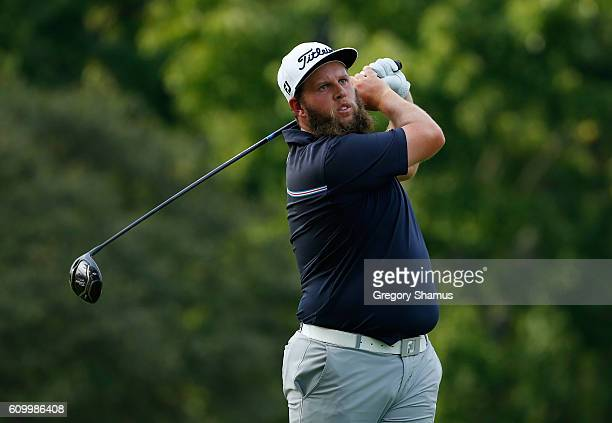 Andrew Johnston of England watches his drive on the ninth hole during the second round of the Webcom Tour Nationwide Children's Hospital Championship...