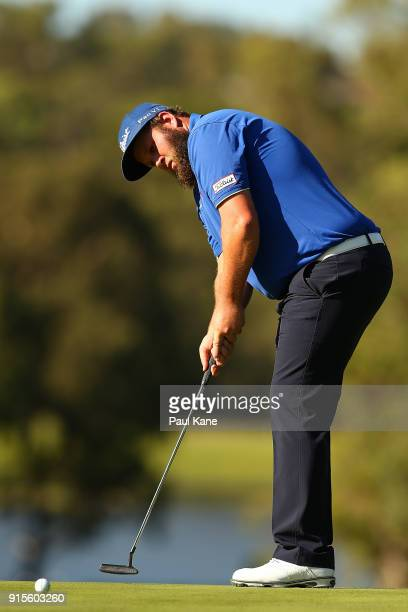 Andrew Johnston of England watches his putt on the 14th green during day one of the World Super 6 at Lake Karrinyup Country Club on February 8 2018...