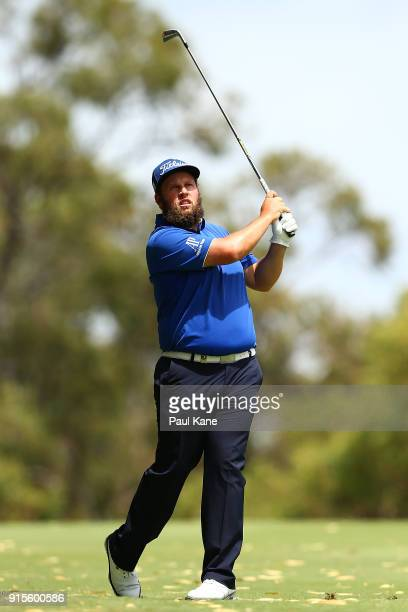 Andrew Johnston of England watches his second shot on the 7th hole during day one of the World Super 6 at Lake Karrinyup Country Club on February 8...