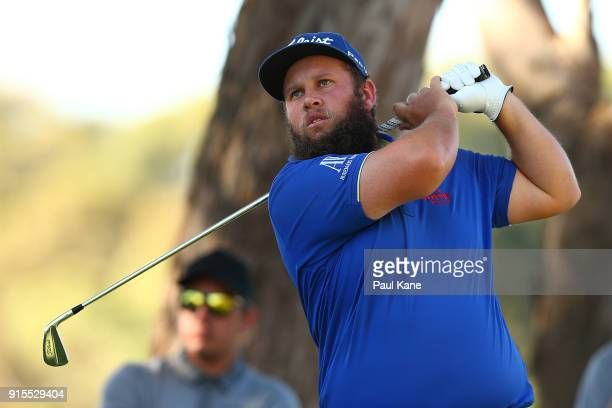 Andrew Johnston of England watches his tee shot on the 14th hole during day one of the World Super 6 at Lake Karrinyup Country Club on February 8...