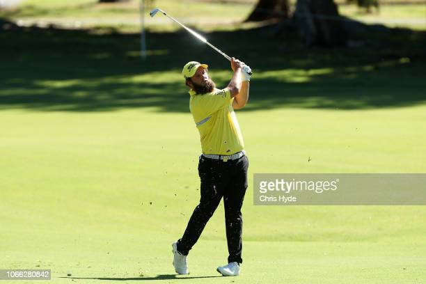 Andrew Johnston plays his second shot during day one of the 2018 Australia PGA Championship at Royal Pines Resort on November 29 2018 in Gold Coast...