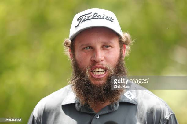 Andrew Johnston speaks to media ahead of the 2018 Australian PGA Championship at RACV Royal Pines Resort at Royal Pines Resort on November 28 2018 in...