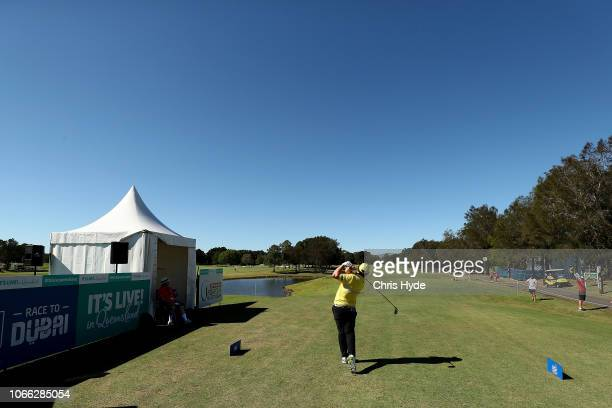 Andrew Johnston tees off from the 1st hole during day one of the 2018 Australia PGA Championship at Royal Pines Resort on November 29 2018 in Gold...