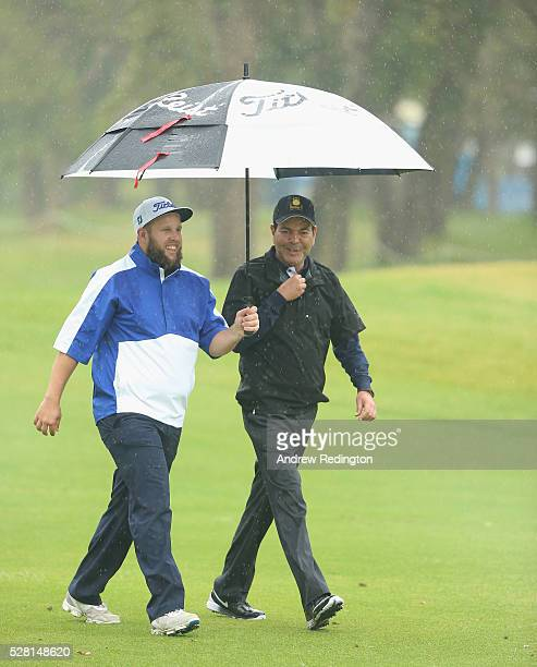 Andrew Johnstone of England and HRH Prince Moulay Rachid are pictured together during the Pro Am prior to the start of the Trophee Hassan II at Royal...