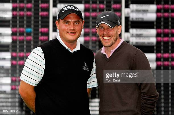 Andrew Jones of Stonebridge and Edward Martin of Willesley Park pose for photographs after winning the Skins PGA Fourball Championships Final at...