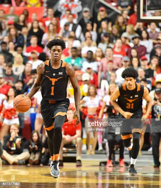 Andrew Jones of the Texas Longhorns brings the ball up court during the game against the Texas Tech Red Raiders on March 1 2017 at United...
