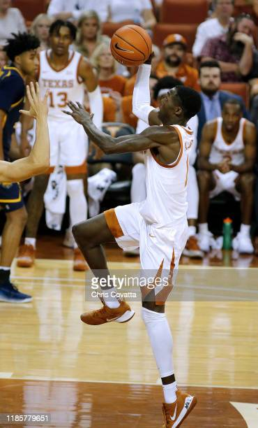 Andrew Jones of the Texas Longhorns leaps to the basket against the Northern Colorado Bears at The Frank Erwin Center on November 05 2019 in Austin...