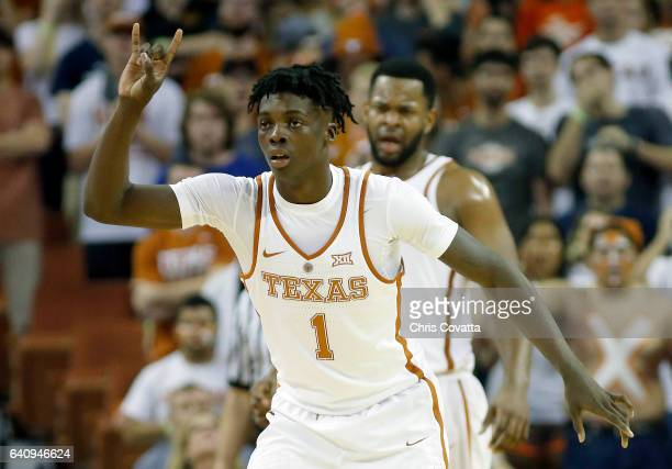 Andrew Jones of the Texas Longhorns reacts as his team plays the Texas Tech Red Raiders at the Frank Erwin Center on February 1 2017 in Austin Texas