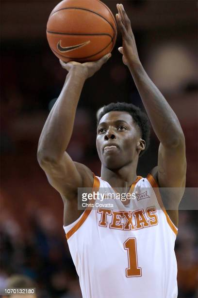 Andrew Jones of the Texas Longhorns shoots a free throw against the Citadel Bulldogs at the Frank Erwin Center on November 16 2018 in Austin Texas