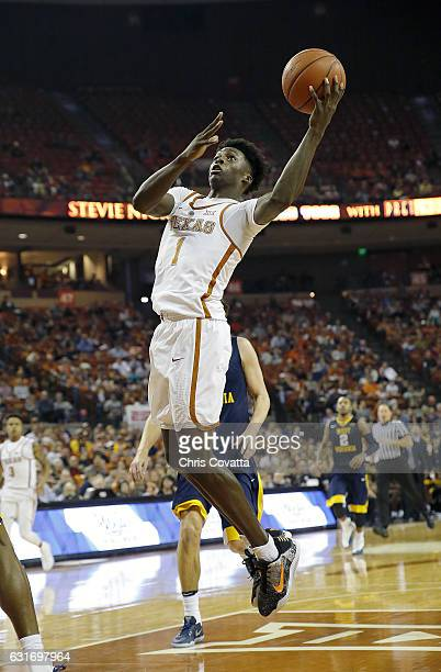 Andrew Jones of the Texas Longhorns shoots the ball against the West Virginia Mountaineers at the Frank Erwin Center on January 14 2017 in Austin...