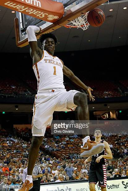 Andrew Jones of the Texas Longhorns slam dunks against the Eastern Washington Eagles at the Frank Erwin Center on November 17 2016 in Austin Texas
