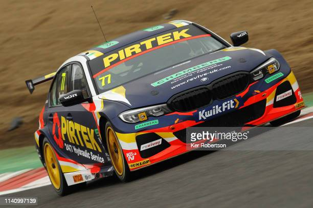 Andrew Jordan of BMW Pirtek Racing drives on his way to winning race two of the Kwik Fit British Touring Car Championship at Brands Hatch on April...
