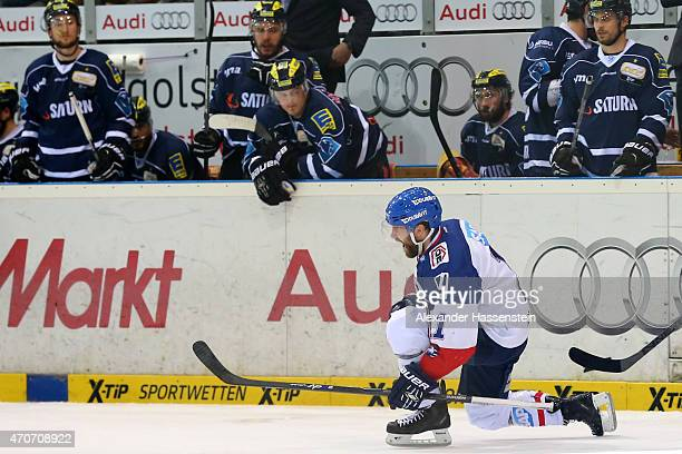 Andrew Joudrey of Mannheim celebrates scoring the 2nd team goal during the DEL Playoffs Final Game 6 between ERC Ingolstadt and Adler Mannheim at...