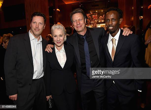 Andrew Karpen CEO of Bleeker street Helen Mirren director Gavin Hood and Barkhad Abdi attennd the 'Eye In The Sky' New York PremiereAfter Party at...