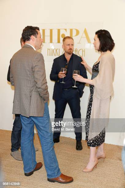 Andrew Karpen, Laura Prepon and Ben Foster attend the Leave No Trace party presented by Perrier-Jouet at Nikki Beach on May 13, 2018 in Cannes,...