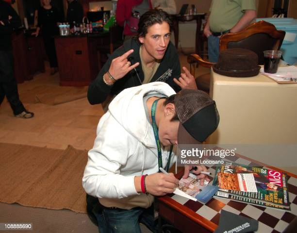 Andrew Keegan and Jesse Garcia in Fuel TV Chalet during Fuel TV Chalet at Sundance and XDance 2006 Day 7 at Woodside in Park City Utah United States