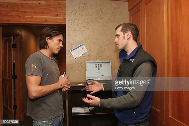 Andrew Keegan visits the ActorGearcom display at the Gibson Gift Lounge during the 2005 Sundance Film Festival on January 23 2005 in Park City Utah