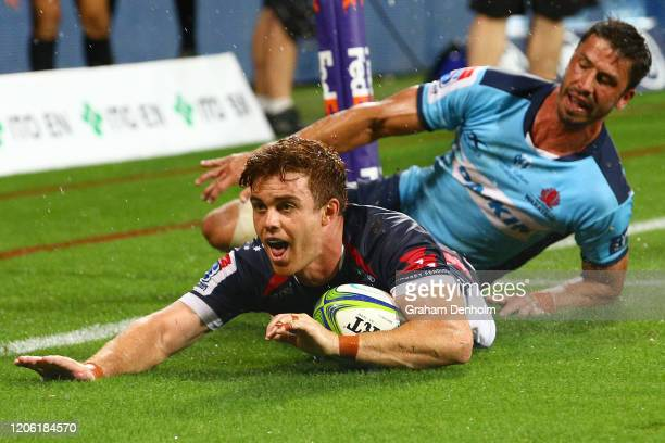 Andrew Kellaway of the Rebels scores a try during the round 3 Super Rugby match between the Rebels and the Waratahs at AAMI Park on February 14 2020...