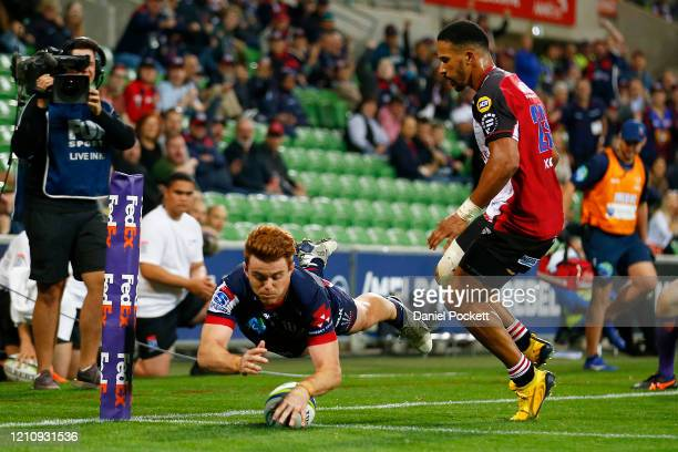 Andrew Kellaway of the Rebels scores a try during the round six Super Rugby match between the Rebels and the Lions at on March 07, 2020 in Melbourne,...