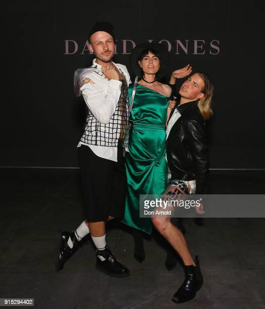 Andrew Kelly and Christian Wilkins pose with Isabella Manfredi just after the David Jones Autumn Winter 2018 Collections Launch at Australian...