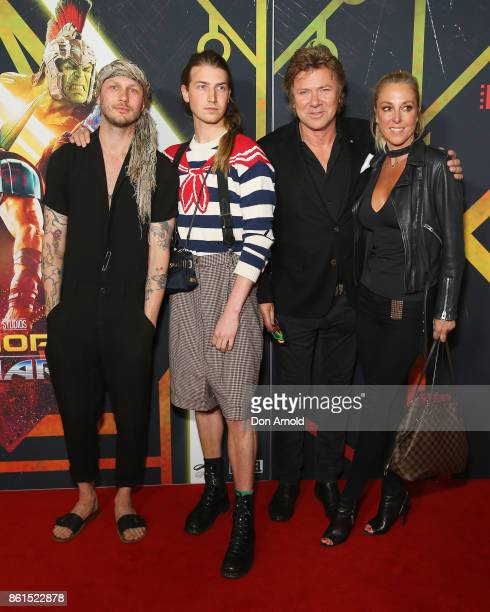 Andrew Kelly Christian Wilkins Richard Wilkins and friend arrive for the premiere screening of Thor Ragnarok Sydney at Fox Studios on October 15 2017...