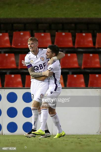Andrew Keogh and Jamie Maclaren of the Glory celebrate a goal during the round 24 ALeague match between the Newcastle Jets and Perth Glory at Hunter...