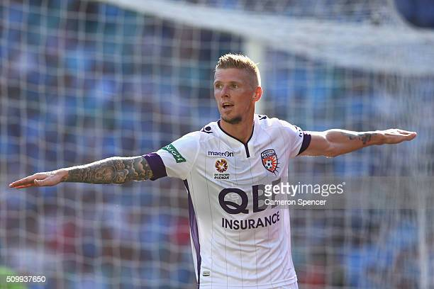Andrew Keogh of the Glory celebrates scoring a goal during the round 19 ALeague match between Sydney FC and the Perth Glory at Allianz Stadium on...