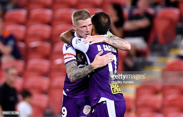 Andrew Keogh of the Glory celebrates scoring a goal during the round 11 ALeague match between the Brisbane Roar and the Perth Glory at Suncorp...