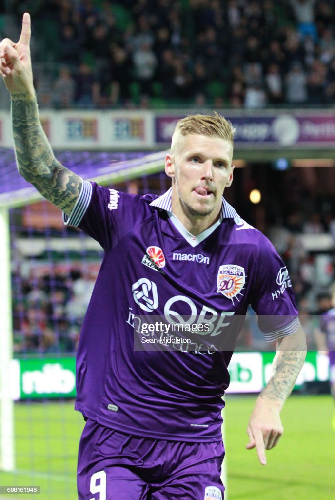 Andrew Keogh #9 of the Glory during the round 26 A-League match between the Perth Glory and Brisbane Roar at nib Stadium on April 8, 2017 in Perth, Australia.