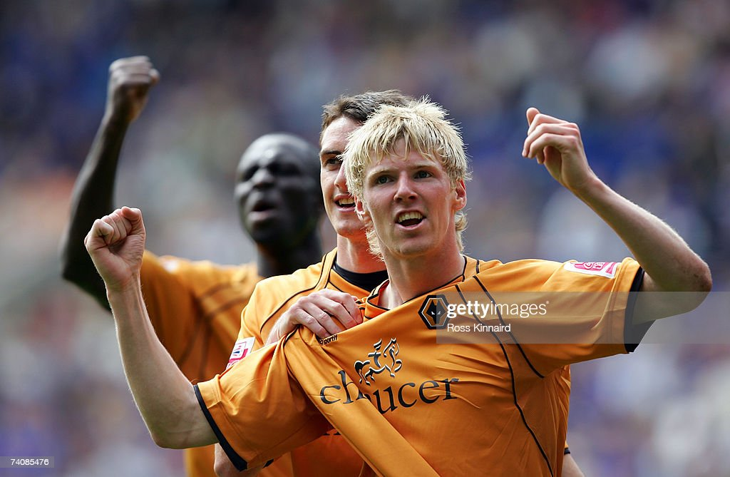Andrew Keogh of Wolverhampton Wanderers celebrates after the third goal during the Coca-cola Championship match between Leicester City and Wolverhampton Wanderers at the Walkers Stadium on May 6,2007 in Leicester, England.