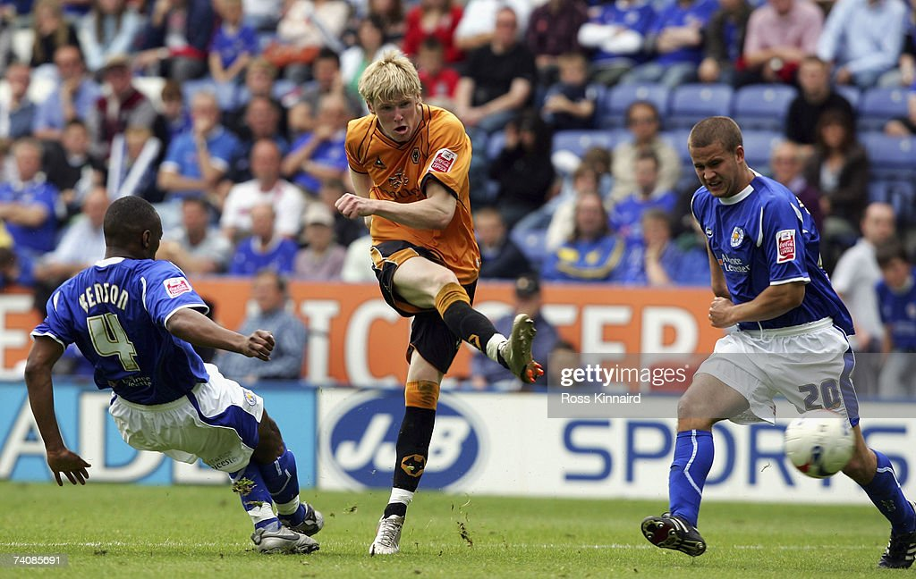 Andrew Keogh of Wolverhampton Wanderers fires in a shot during the Coca-cola Championship match between Leicester City and Wolverhampton Wanderers at the Walkers Stadium on May 6,2007 in Leicester, England.