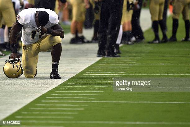 Andrew King of the Army Black Knights pauses prior to their game against the Duke Blue Devils at Wallace Wade Stadium on October 8 2016 in Durham...