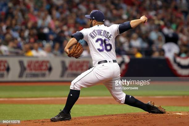 Andrew Kittredge of the Rays delivers a pitch to the plate during the MLB regular season game between the Boston Red Sox and the Tampa Bay Rays on...