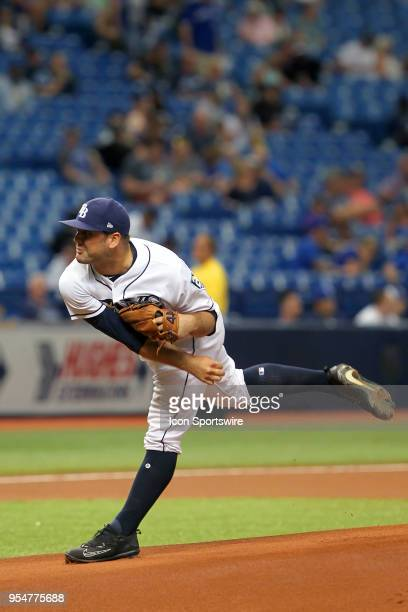 Andrew Kittredge of the Rays delivers a pitch to the plate during the MLB regular season game between the Toronto Blue Jays and the Tampa Bay Rays on...