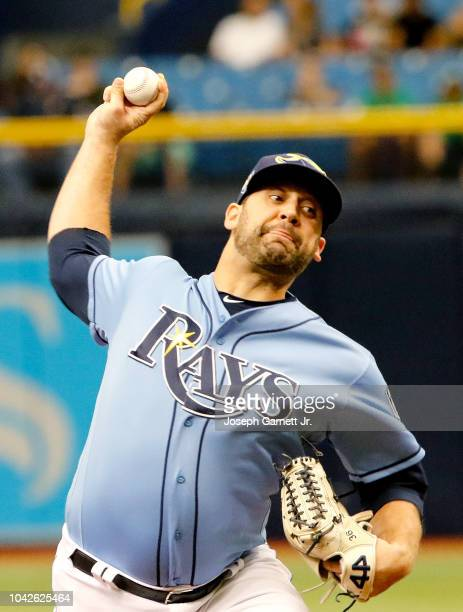Andrew Kittredge of the Tampa Bay Rays delivers a pitch during the second inning of the game against the Oakland Athletics at Tropicana Field on...