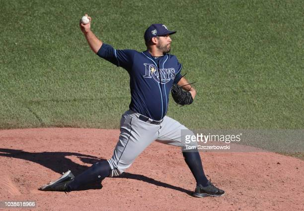 Andrew Kittredge of the Tampa Bay Rays delivers a pitch in the eighth inning during MLB game action against the Toronto Blue Jays at Rogers Centre on...